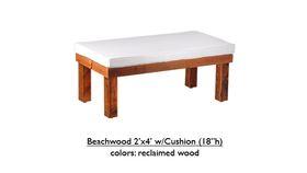 "Image of a 2' x 4' x 18""h White Beechwood Bench w/Cushion Rental"