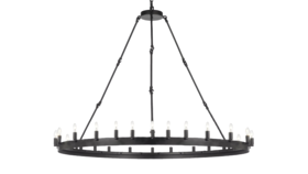 """Image of a 63""""H x 49""""H Wrought Iron Vintage Barn Metal Camino One Tier Chandelier"""