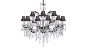 """Image of a 28""""H x 30""""W 19th C. Rococo Iron & Empress Crystal Chandelier Lighting"""
