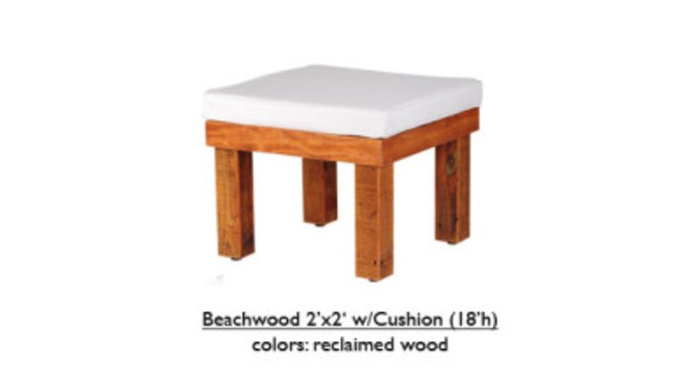 """Picture of a 2' x 2' x 18""""h White Beechwood Ottoman With Cushion"""