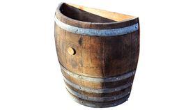 Image of a Half Wine Barrel Trash Can