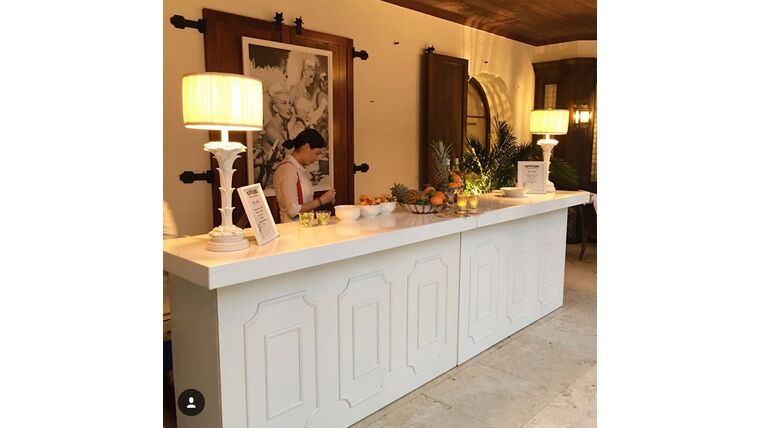 Picture of a 12' White 2-Piece Colonial Bar Rental