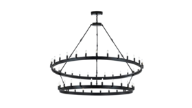 """Image of a 63""""W x 60""""H Wrought Iron Vintage Barn Metal Camino Two Tier Chandelier"""