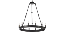 """Image of a 26""""H x 27""""H Wrought Iron Vintage Barn Metal Camino One Tier Chandelier"""