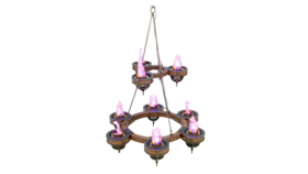 Image of a Flame Light Chandelier - Two Tiers (9 Lights) Prop