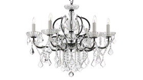 """Image of a 25""""H x 26""""W 19th C Rococo Iron & Crystal Chandelier Lighting"""