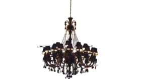 """Image of a 52""""H x 46""""W Large Jet Black Gothic Crystal Chandelier Lighting"""