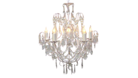 """Image of a 27""""H x 21""""W White Wrought Iron Crystal Chandelier Lighting"""