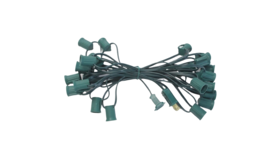Image of a 100' Green String C7 - 7 Watt Clear Incandescent Bulb String Lights Kit