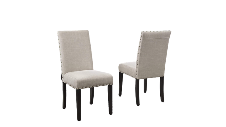 Picture of a Biony Tan Fabric Dining Chairs with Nailhead Trim