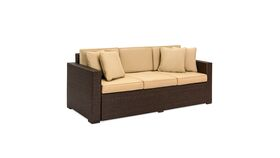 Image of a BCP Outdoor Wicker Patio Furniture Sofa 3 Seater Luxury Comfort Brown Wicker