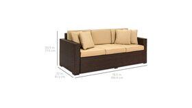 BCP Outdoor Wicker Patio Furniture Sofa 3 Seater Luxury Comfort Brown Wicker image