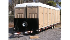 Image of a 32' Portable Deck Over Bumper Pull Restroom Trailer