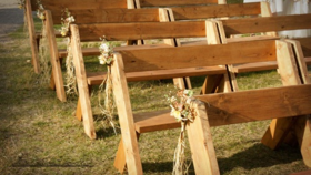 Image of a 8' Cross Foot Bench w/Back - White Wood