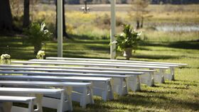 Image of a 12' White A Frame Bench
