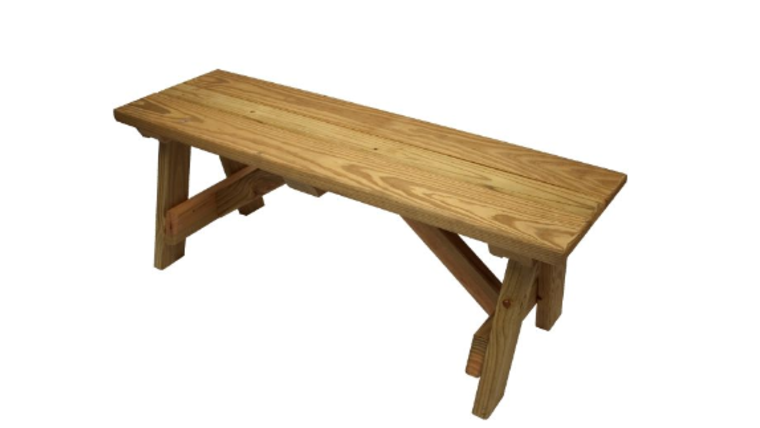 Picture of a A Frame Natural Wood Bench