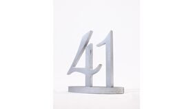 "Image of a Table Number - 5"" Silver with Base"