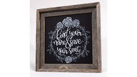 "Image of a ""Find Your Name & Save Your Seat"" Chalkboard Sign"
