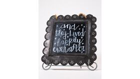 "Image of a ""And They Lived Happily Ever After"" - Hanging Tin Chalkboard Sign"