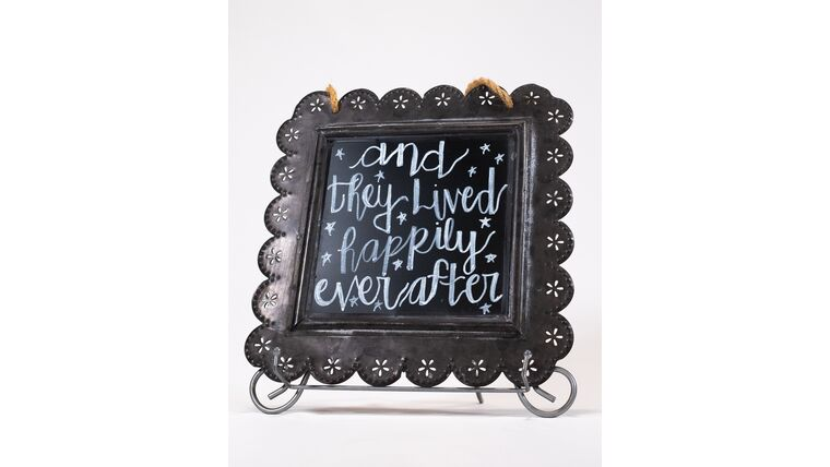 "Picture of a ""And They Lived Happily Ever After"" - Hanging Tin Chalkboard Sign"