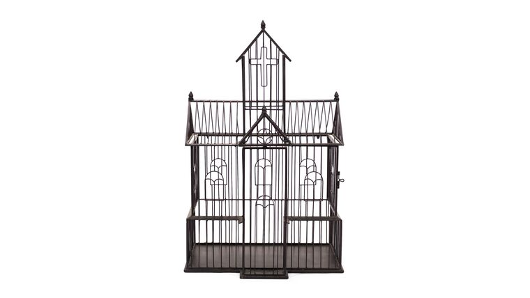 Picture of a Brown Wire Church - Reception Card Holder