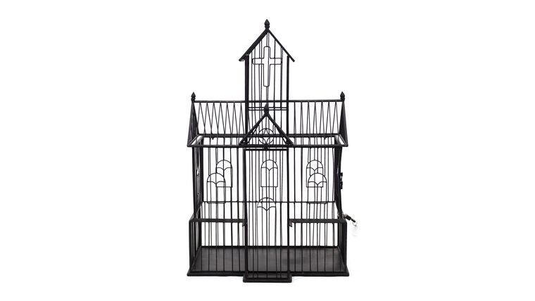 Picture of a Black Wire Church - Reception Card Holder