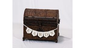 Image of a Brown Wicker Chest - Reception Card Holder