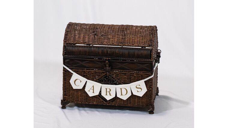 Picture of a Brown Wicker Chest - Reception Card Holder