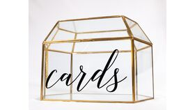 Image of a Gold/Glass Terrarium - Cards - Reception Card Holder