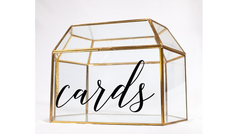 Picture of a Gold/Glass Terrarium - Cards - Reception Card Holder