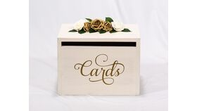 Image of a Ivory Wooden Box - Gold Floral - Cards - Reception Card Holder