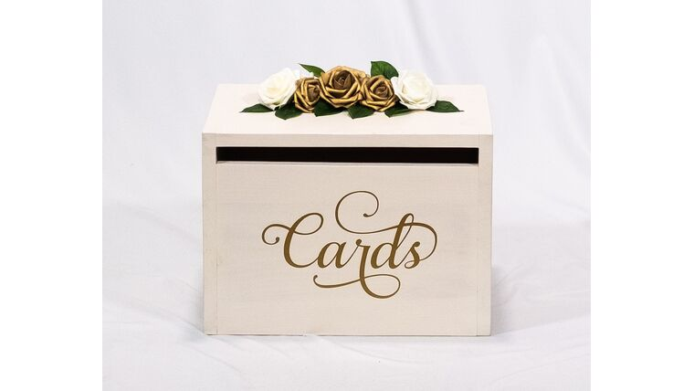 Picture of a Ivory Wooden Box - Gold Floral - Cards - Reception Card Holder