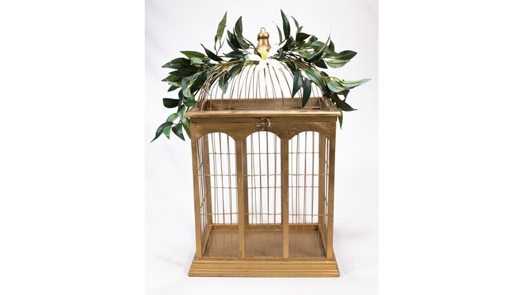 Picture of a Gold Bird Cage - Reception Card Holder