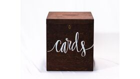 "Image of a Dark Stained Box ""Cards"" - Reception Card Holder"