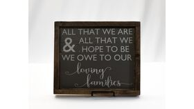 "Image of a ""All that we are..."" Sign-Dark Wood/Chalkboard/Grey Print"