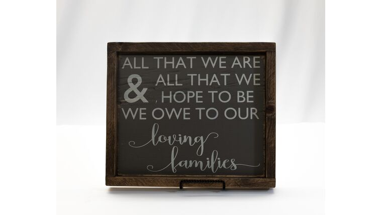 """Picture of a """"All that we are..."""" Sign-Dark Wood/Grey Print"""
