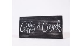 "Image of a ""Gifts & Cards"" Sign - Black/Wood Block/White Print"