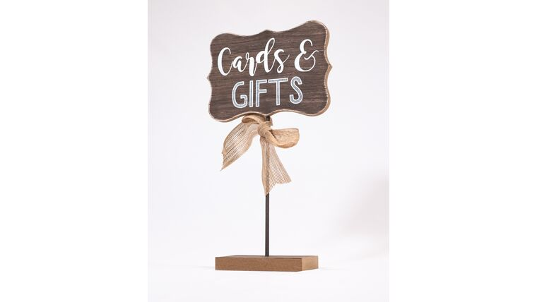 """Picture of a """"Cards & Gifts"""" Sign-Rustic Wood/Tall Stand/Burlap Accent"""