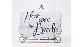 "Image of a ""Here Comes the Bride"" Sign - Decorative Shape"
