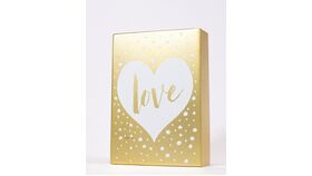"Image of a ""Love"" Sign - Gold Wood Block with White Heart/White Dots"