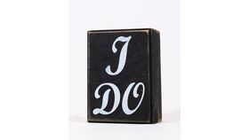"Image of a ""I DO"" Sign - Small/Black/Wood Block/White Letters"