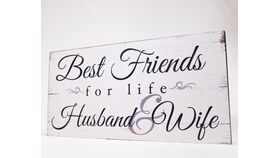 "Image of a ""Best Friends for life Husband & Wife"" Sign - Whitewash/Black Print"