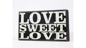 "Image of a ""LOVE SWEET LOVE"" Sign - Black&White/Block"