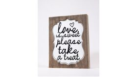 "Image of a ""Love is sweet please take a treat"" Sign - Driftwood Color"