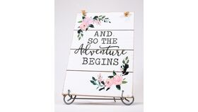 "Image of a ""And so the Adventure Begins"" Sign - Whitewashed/Floral"