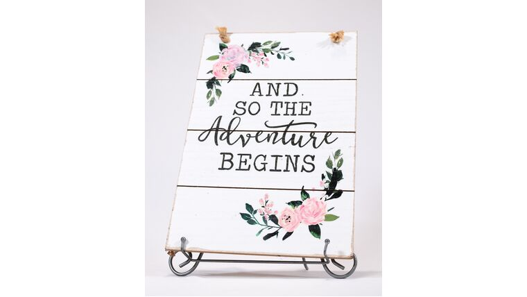 """Picture of a """"And so the Adventure Begins"""" Sign - Whitewashed/Floral"""