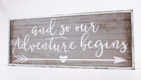 "Image of a ""And so our Adventure begins"" Sign - Arrow/Whitewash/Grey Thin Trim"