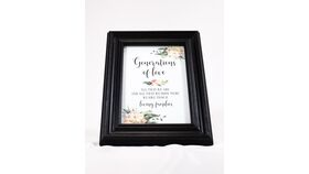 "Image of a ""Generations of love...."" Sign - Black Frame/Floral/Family Thanks"
