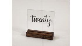 "Image of a Table Number - Acrylic 5"" with Black Glitter Number & Dark Wood Base"