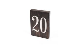 Image of a Table Number - Thin Dark Stained Block with White Number
